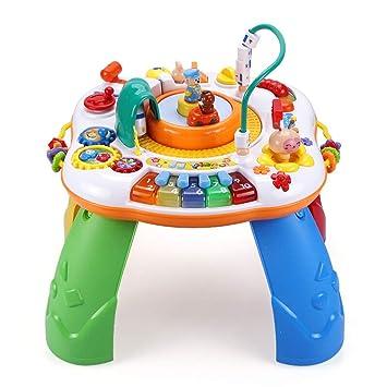 Baby Kinder Spieltisch Lerntisch aus Holz Motorikspielzeug mit 5 Lernspielzeugen Baby Holzspielzeug