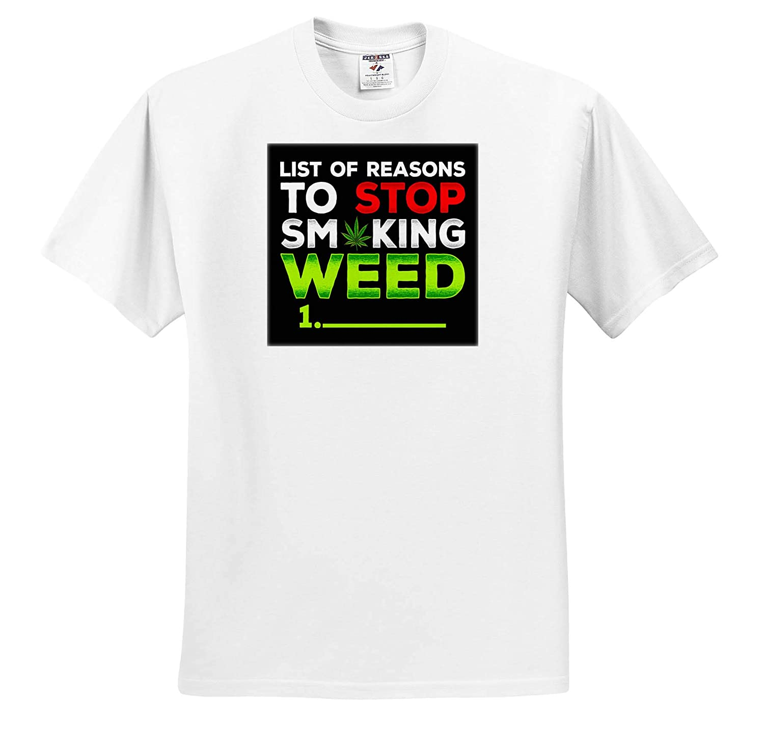 3dRose Sven Herkenrath Weed T-Shirts List of Reasons to Stop Smoking Weeds Funny Quotes Cannabis