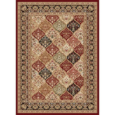 Sensation Geometric Red Oriental Oval Rug
