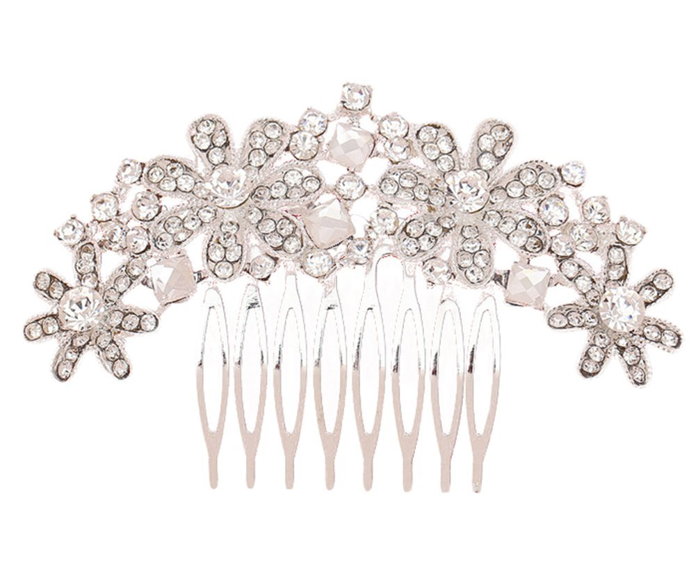 Hosaire Hair Clip Comb Bridal Wedding Flower Crystal Rhinestones Pearls Women Hair Accessory