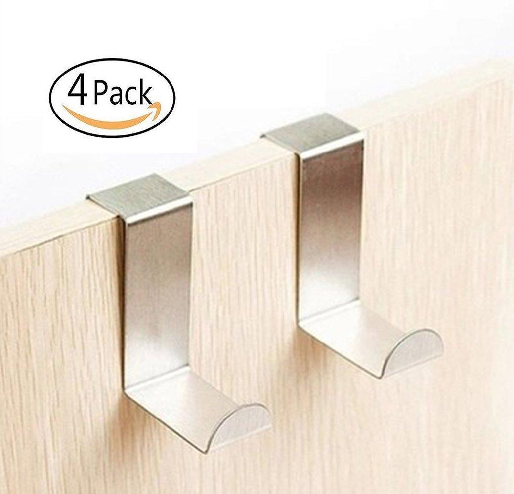 Ganchos para puerta, armario y cajó n, ganchos de metal para puerta, ganchos de acero inoxidable reversibles, juego de 4 armario y cajón JRong