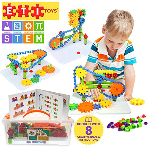 ETI Toys Jumbo Gears Kit for Boys and Girls | 192 Piece Set with Jumbo Gears including a Resizeable Interlocking Chain, Connector Pieces and 2 Pegboards | Gear Building Set | Engineering Education Toy