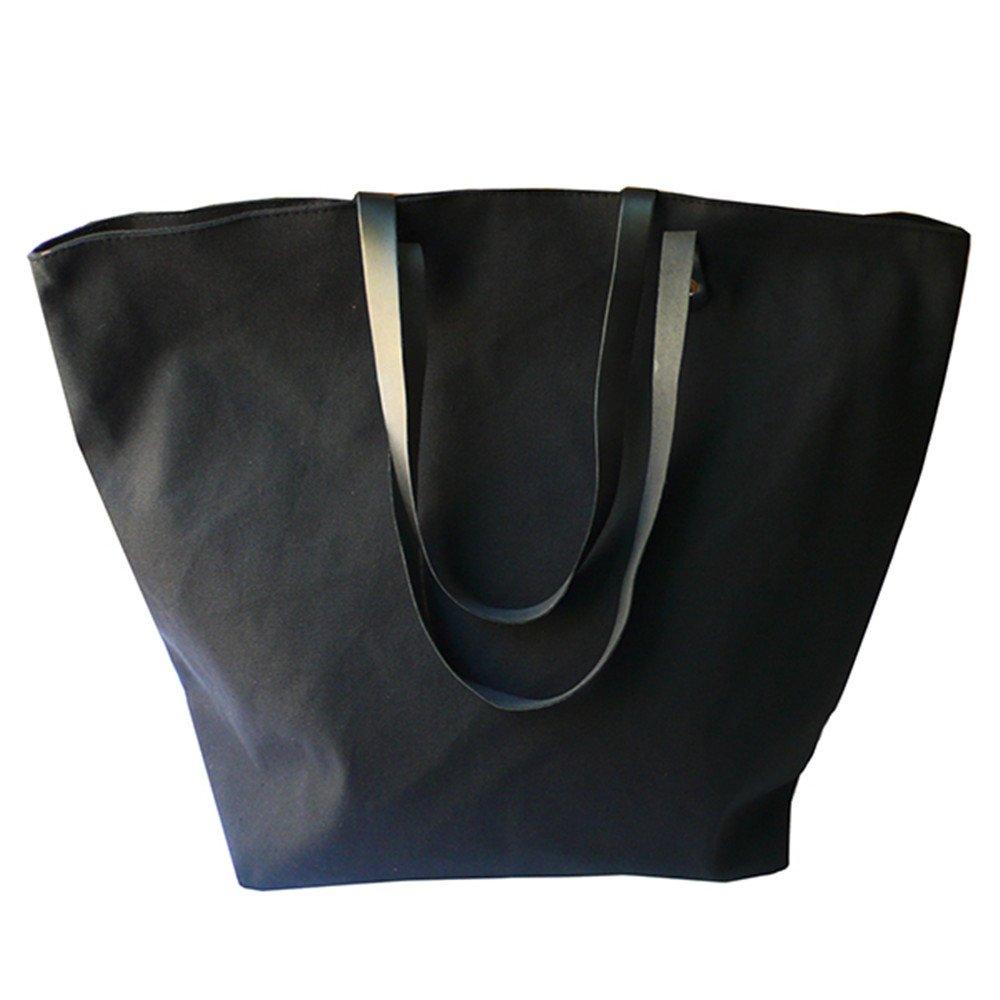 X.Sem Foldable Baseball Softball Tote Bag Canvas Oversized Beach Totes Durable Travel Handbag 22'' (Black-Blank)