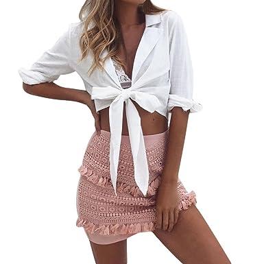 dd8cf8a84c2 Amazon.com  Nacome Women Spring Bandage Deep-V Long Sleeve Crop Tops Blouse  T Shirt  Clothing