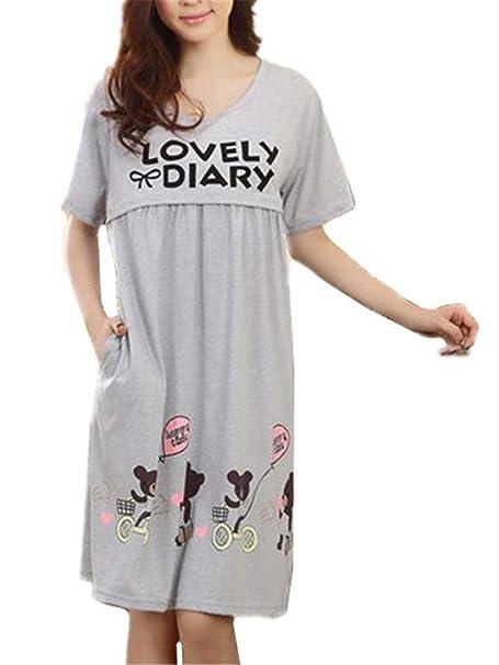 Tayaho Camisón Lactancia para Mujer Pijama Premamá Manga Corta Maternidad Camisones Ocasionales Nightdress CÓModo Flojo Ropa