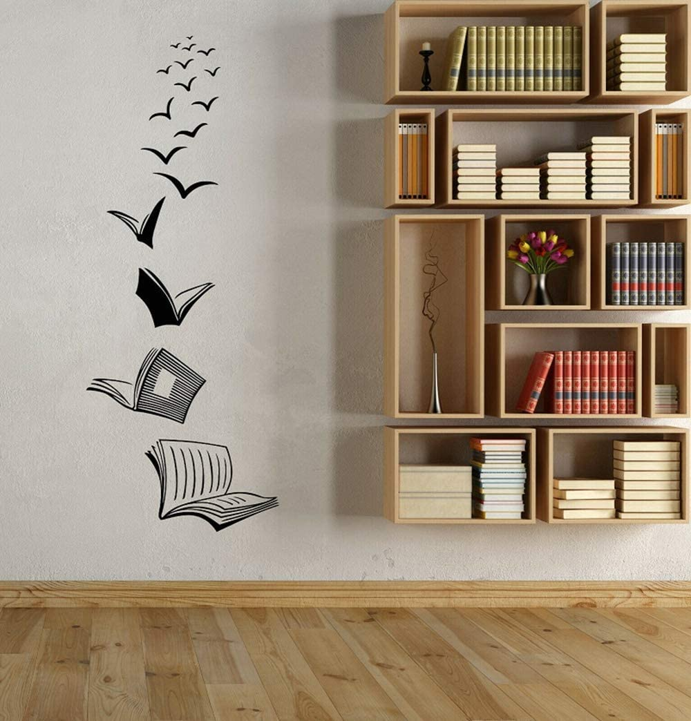 Open Book Wall Decal - Library School Classroom Wall Art Sticker - Study Room Bookshop Decoration