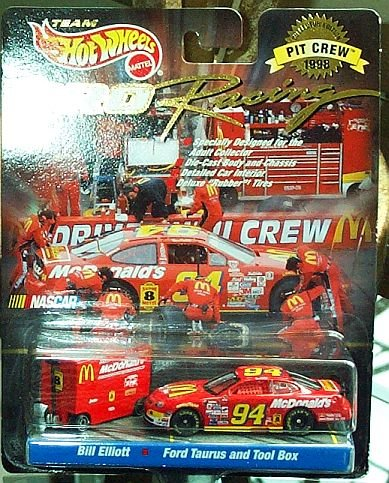 1997 - Mattel / NASCAR - Team Hot Wheels - Pro Racing - Pit Crew 1998 Collector Edition - Bill Elliott #94 - McDonald's / Ford Thunderbird & Pit Tool Box - 1:64 Scale Die Cast - MOC - Out of Production - Limited Edition - Collectible (Nascar Pit)