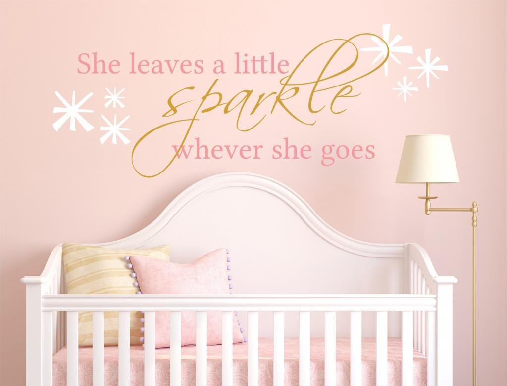 She Leaves a Little Sparkle Wherever She Goes Vinyl Wall Decal, 36'' W by 14'' H, Girls Quote Wall Decals Sparkle Quotes, Nursery Baby Decor, PLUS FREE 12'' NAME DECAL AND HELLO DOOR DECAL WITH PURCHASE
