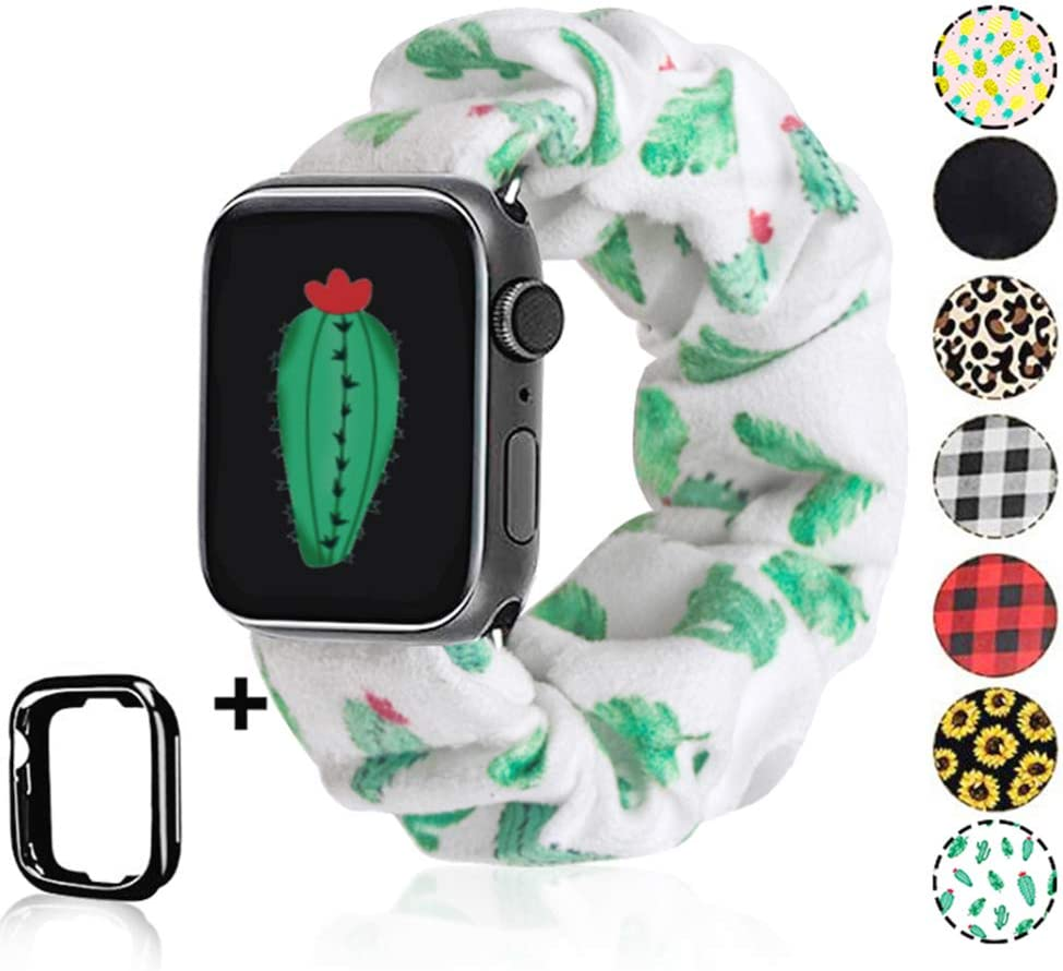 Scrunchie Watch Band for Apple Watch by Kraftychix,Cute Soft Scrunchy Watch Band Elastic Strap Compatible/Replacement with Iwatch 38mm 40mm / 42mm 44mm Series 1-5 (Cactus, 42mm/44mm)