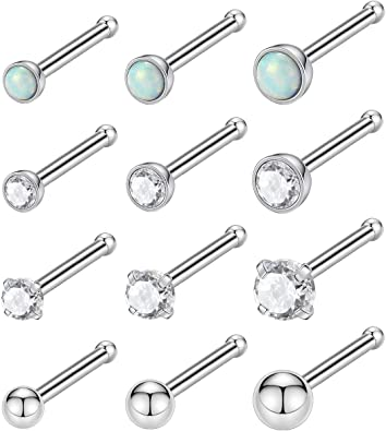 Amazon Com Kangyijia 20g Nose Bone Nose Ring 2 2 5 3mm Opal Gem