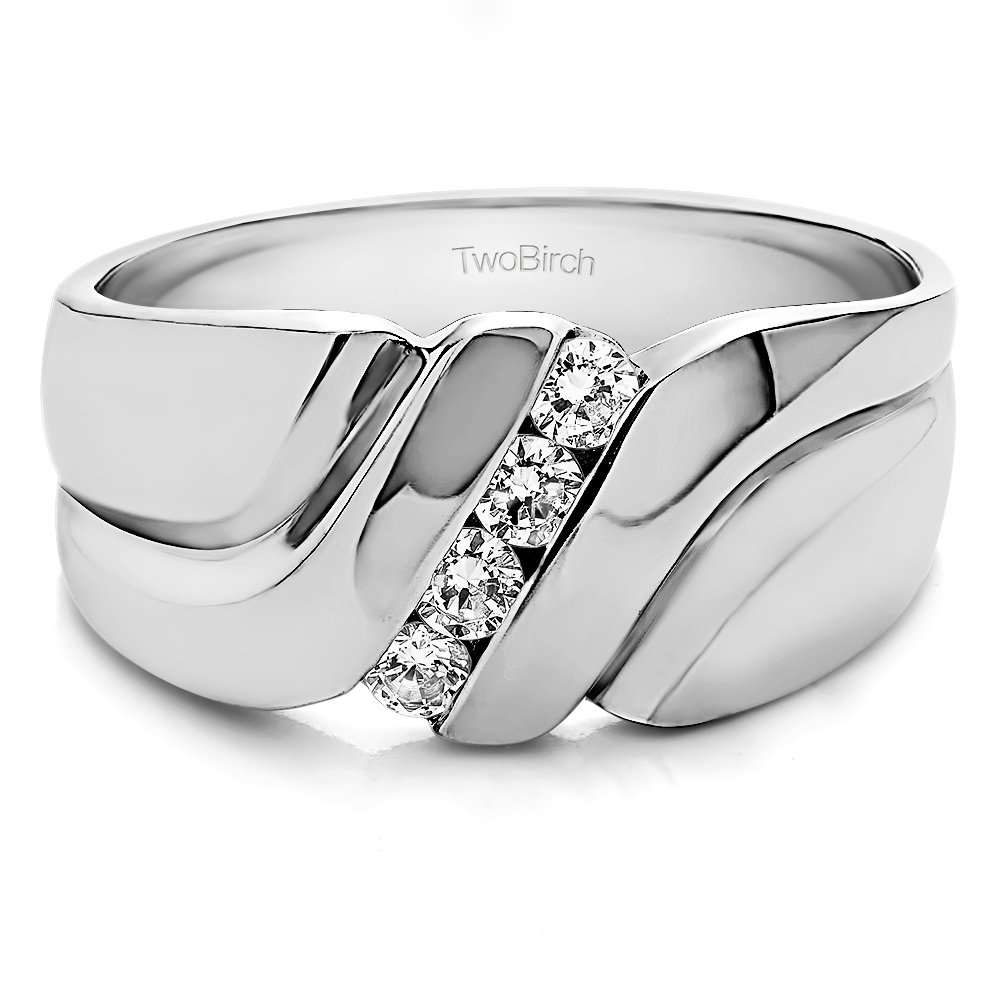 TwoBirch Swirl Style Cool Men's Ring or Unique Mens Wedding Ring with 0.24 carats of Cubic Zirconia in Sterling Silver