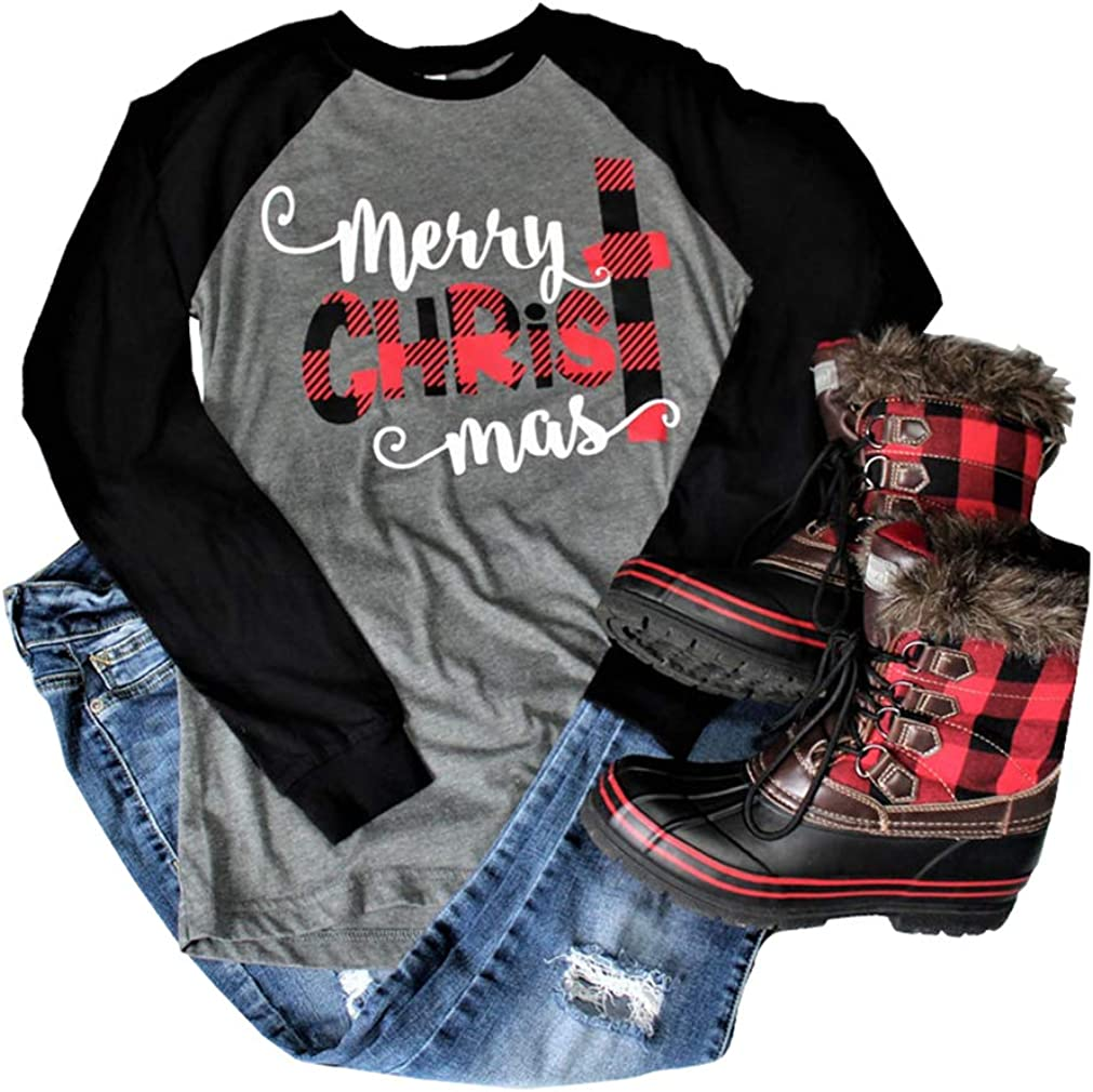 Merry Christmas Graphic T-Shirt Women Letter Printed Long 3/4 Sleeve Splicing Top