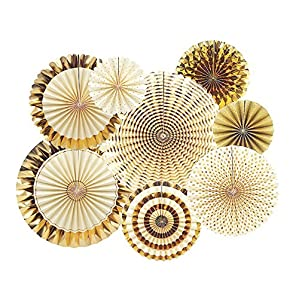 AMFIN® (8packs) Party Fans Golden Party Decoration Materials Photo Backdrop Golden Decor for Wedding Baby Shower Birthday Party