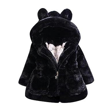 Longra Manteau à Capuche Bébé Fille Hiver Chaud Fourure Ultra Épais  Oreilles de Lapin Forme Vêtements af4eba313f9