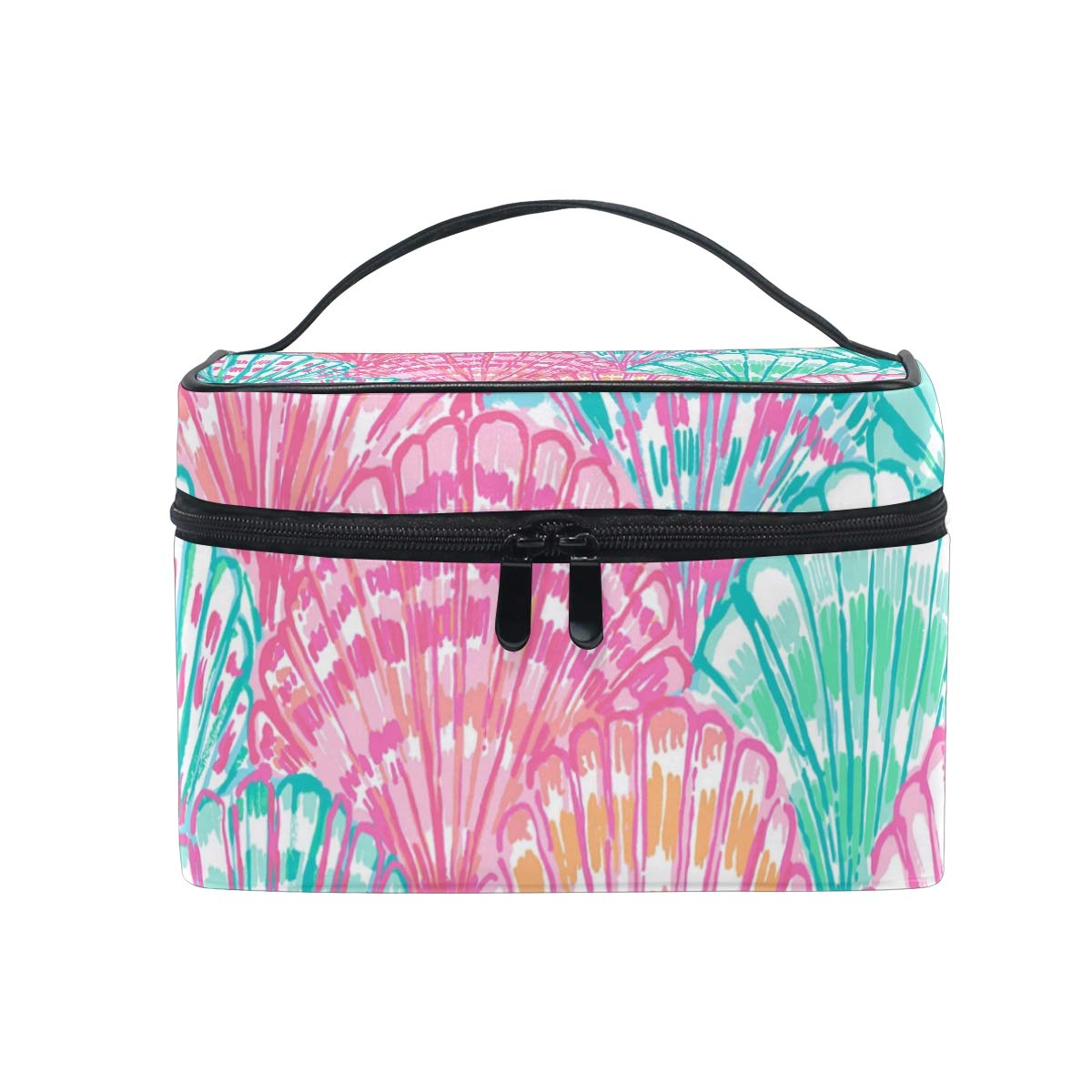 Portable Lily Flower Travel Cosmetic Bag Makeup Bag Makeup Case Organizer Train Case Toiletry Bag with Large Capacity for Cosmetics Make Up Tools