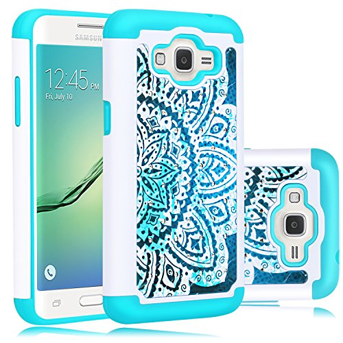 Core Prime Case, Elegant Choise Slim Dual Layer Armor Studded Rhinestone Bling Phone Case Cover with Flower Pattern for Samsung Galaxy Core Prime / Prevail LTE G360 (White+Mint)
