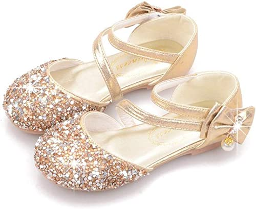 Kids Girls Toddler Bowknot Sequins Princess Shoes Dress Party Flat Ankle Shoes