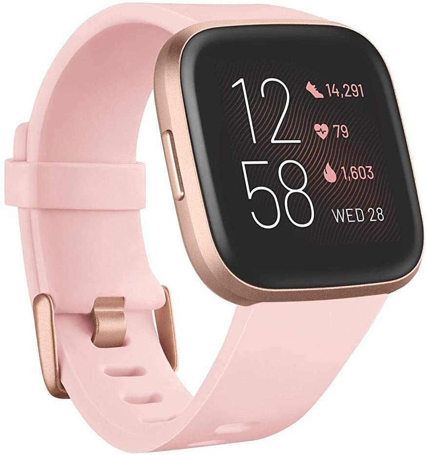 Fitbit Versa 2 Health & Fitness Smartwatch with Heart Rate, Music, Alexa Built-in, Sleep & Swim Tracking, Petal/Copper Rose, One Size (S & L Bands Included)