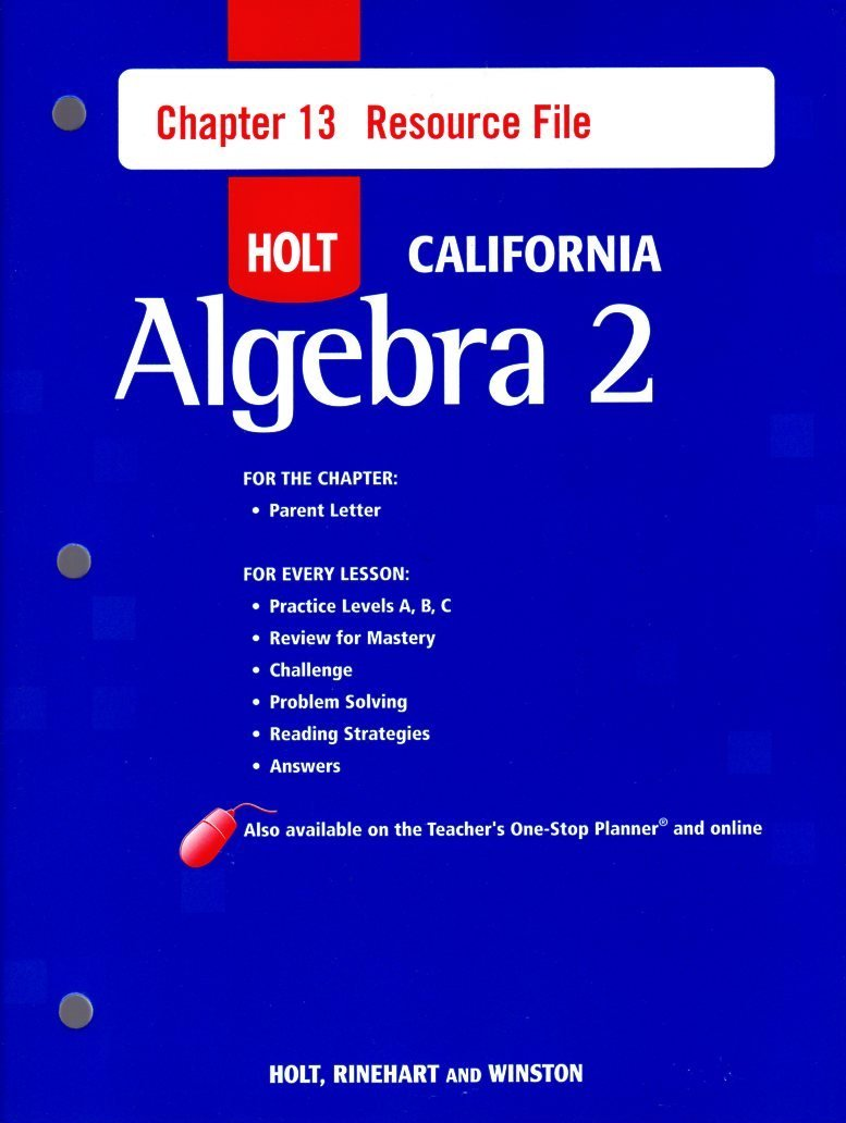 Buy Holt Algebra 2 California: Chapter 13 Resource File with Answers  Algebra 2 Book Online at Low Prices in India | Holt Algebra 2 California:  Chapter 13 ...