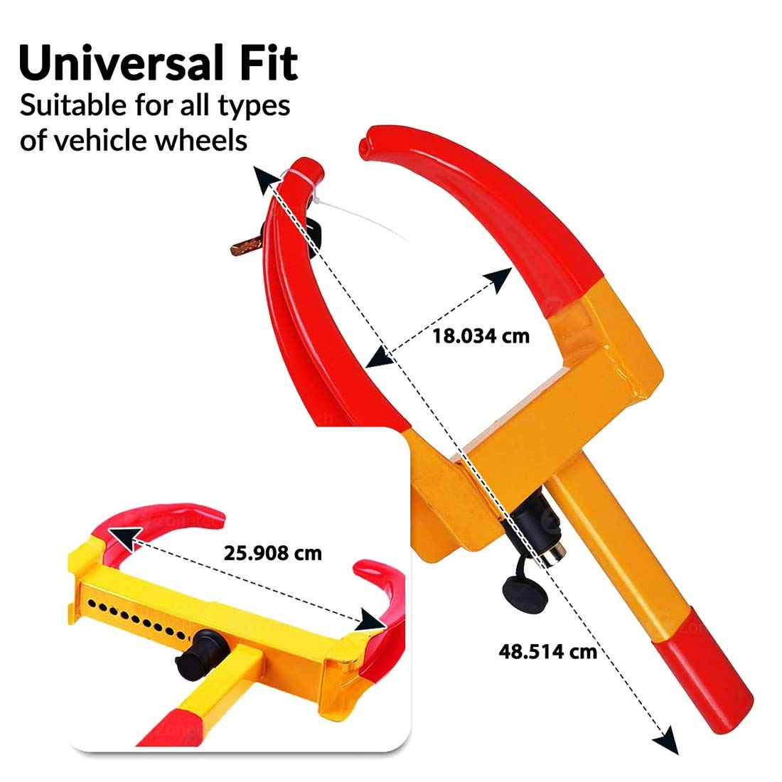 Autofurnish Universal Yellow Anti Theft Car Wheel Tyre Lock Clamp - NYPD  Style