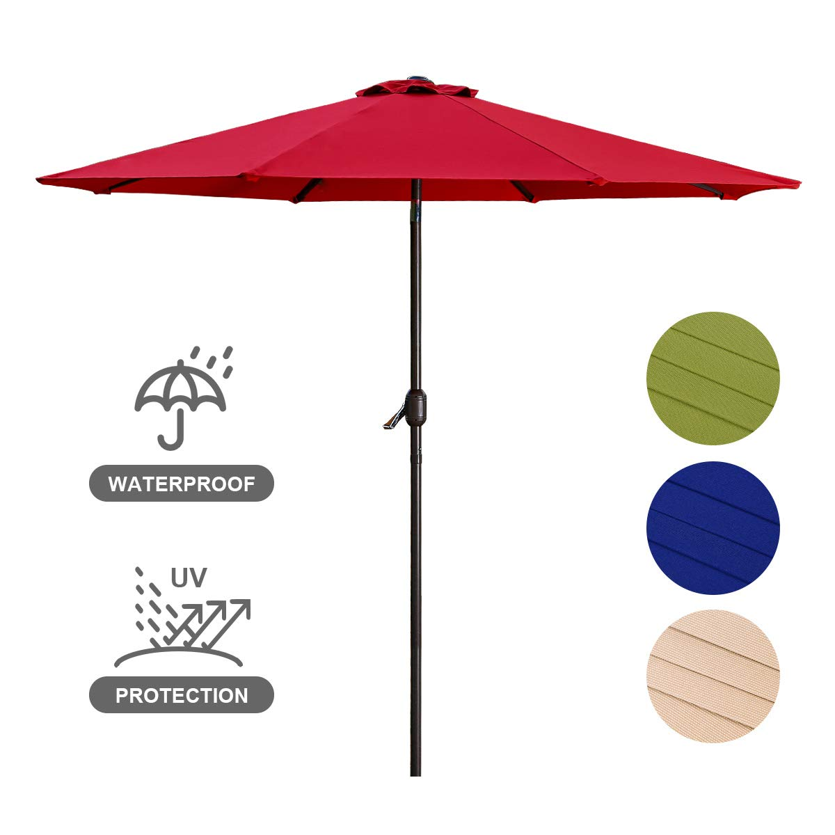 Patio Umbrella 9FT Upscale Garden Table Umbrella with 8 Sturdy Steel Ribs Crank System and Angle Tilt Adjustment Function, 220g Polyester Material, Shade Weatherproof Cover-Red by USspous