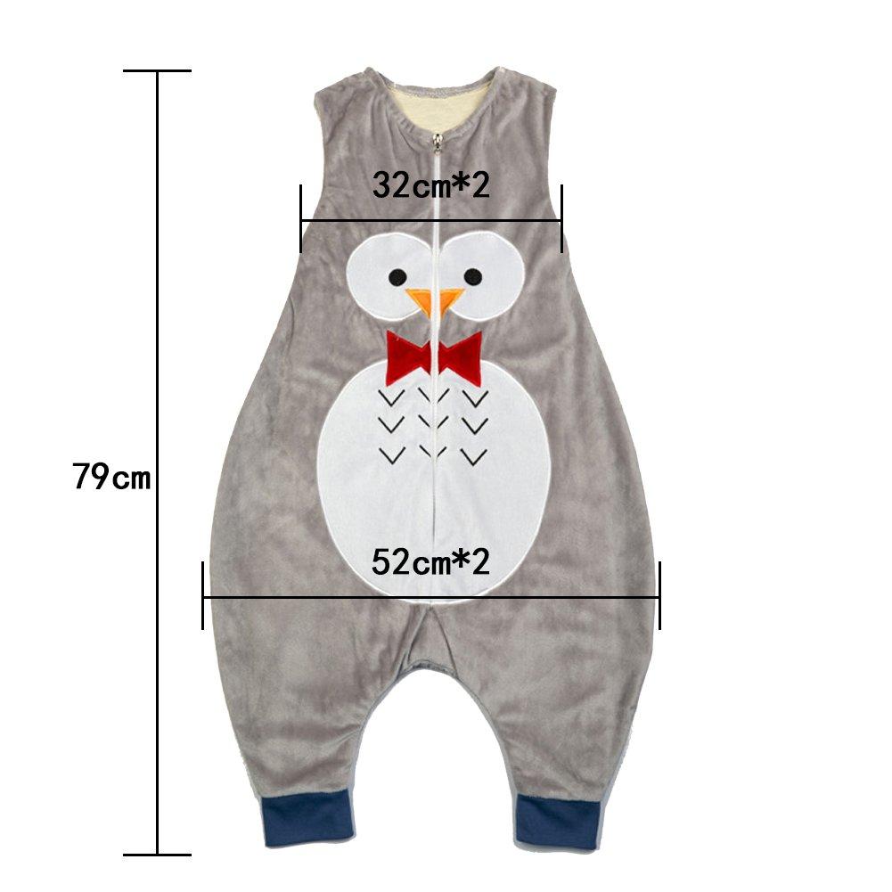 ZEEUAPI - Saco de dormir con piernas de franela para bebés niños infantíl Ropa para dormir (M (3-5 años), Gris-Búho): Amazon.es: Hogar