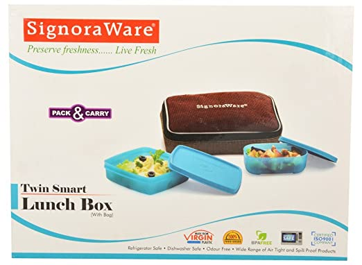 Signoraware Twin Smart Lunch Box with Bag Set, 3 Pieces