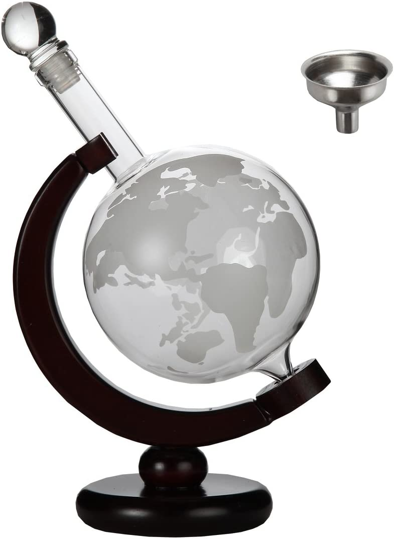Lily's Home World Globe Whiskey Decanter with Dark Finished Wood Stand and Bar Funnel, Let Your Favorite Vintages Breathe with this Beautifully Stylish and Functional Piece (850 ml)