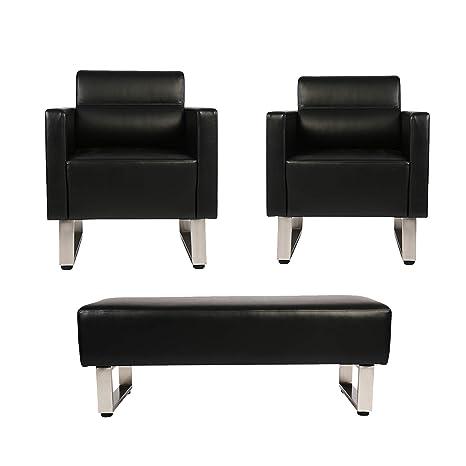 Amazon.com: Juego de sillas de oficina y recepción, lujoso y ...