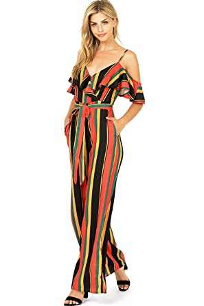 a5d0613d00fc15 Amazon.com  A. Calin by Flying Tomato Women s Juniors Cold Shoulder Striped  Palazzo Jumpsuit  Clothing