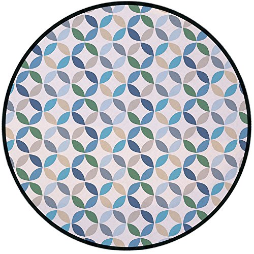 Printing Round Rug,Geometric Circle Decor,Pastel Effects Oval Point Old Linked Stripes Contrast New Band Mat Non-Slip Soft Entrance Mat Door Floor Rug Area Rug For Chair Living Room,Light Blue Green