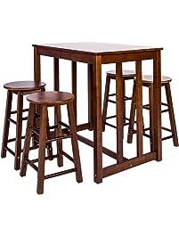 merax 5piece dining table set highpub table set with 4 bar stools