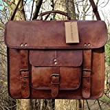 Vintage Leather Laptop Bag 15'' Messenger Briefcase Crossbody Shoulder Satchel Bag
