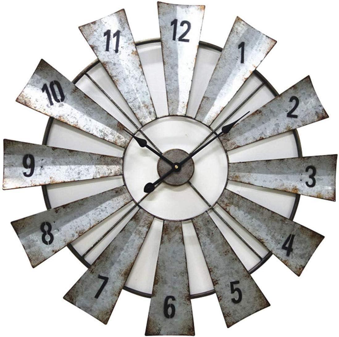 CAO-Decor Soporte de Despertador, 24 Pulgadas Europea Granja del Estilo Pastoral del Molino de Viento Hoja de galvanizado de Hierro Forjado de Metal Reloj de Pared de la Vendimia Esqueleto, 60cm