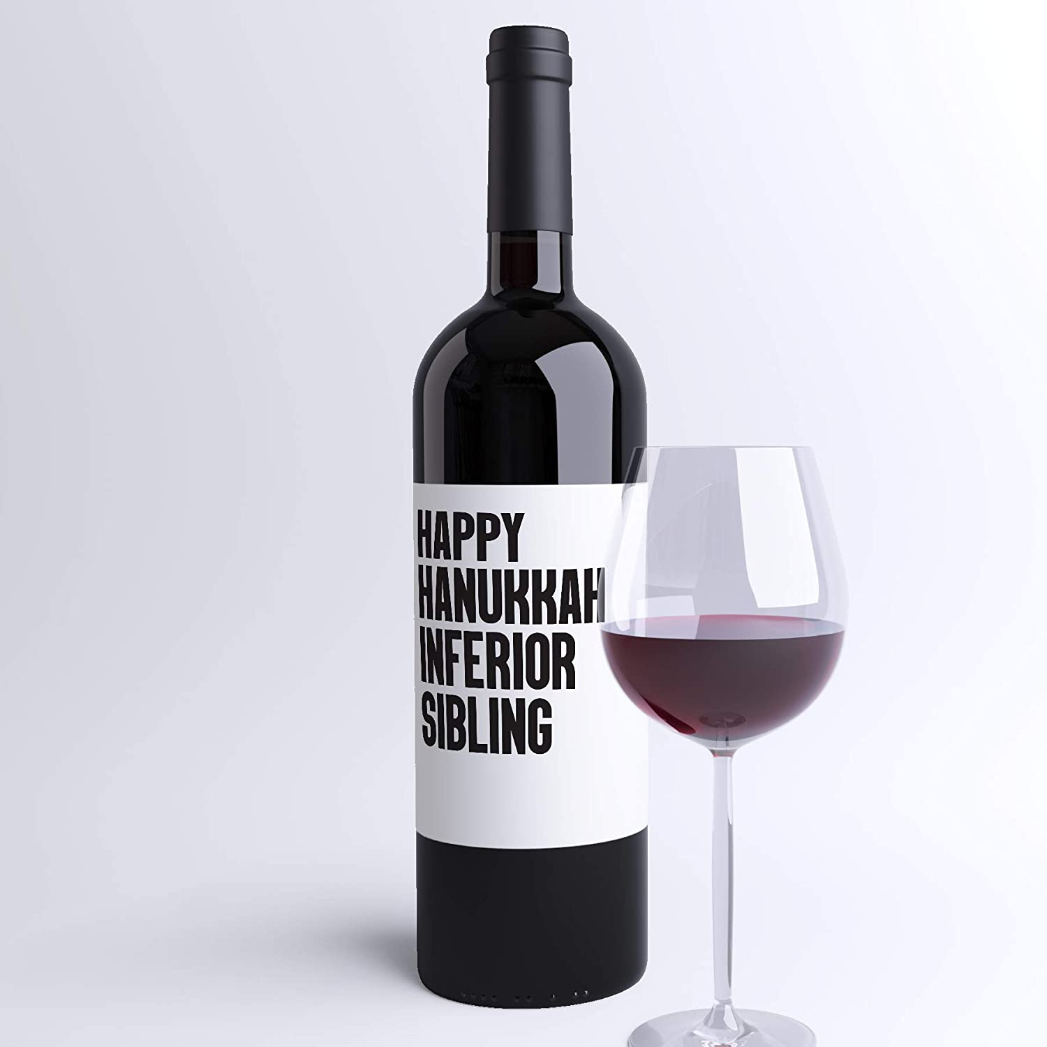 Printed on High-Quality Waterproof Polyester Stock in USA by RitzyRose Funny Family Hanukkah Wine Label Naughty Holiday Sticker To Express How You Really Feel