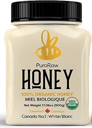 Organic Raw Honey 1.1lbs, Pure Unfiltered Raw White Honey from the Canadian Prairies by PuroRaw, Kosher, 17.5oz
