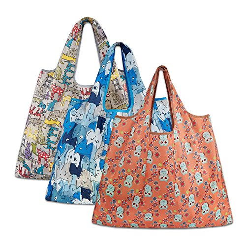 Reusable Grocery Bags, Eco Friendly Foldable Shopping Bags Large Heavy Duty Tote Bags (3 Pack, Grey Cat, Blue Cat, Orange Owl)