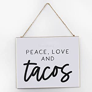 Diuangfoong Peace Love & Tacos Inspirational Wall Art, Rustic Wooden Signs, Wooden Signs for Home Decor Kitchen Living Room Bathroom, Wood Hanger Frame 10x12x0.2 Inch