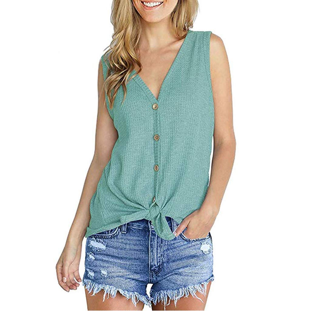 Womens Waffle Knit Tunic Blouse Tie Knot Henley Tops Loose Fitting Bat Wing Plain Shirts (Green, S)