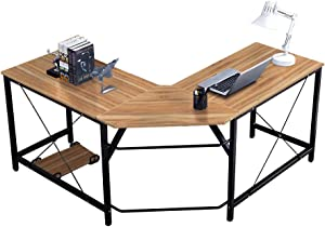 Soges Large 59 x 59 inches L-Shaped Computer Desk Corner Desk L Desk Office Workstation Desk, Oak LD-Z01OK