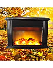 Corner Small Fireplace Heater, Indoor Energy Saving Space Heater, with Thermostat,750W/1500W (Black 17.3in)