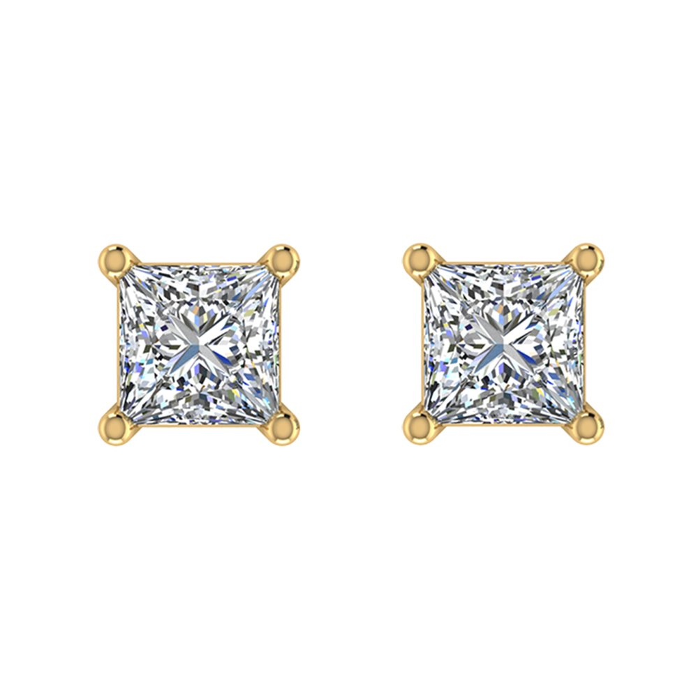 Princess Cut Diamond Earrings 14K Gold Studs Natural Earth-mined Diamonds G,SI