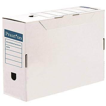 Caja Archivo Definitivo PRAXTON, Folio Cartón Desmontable, Pack x10