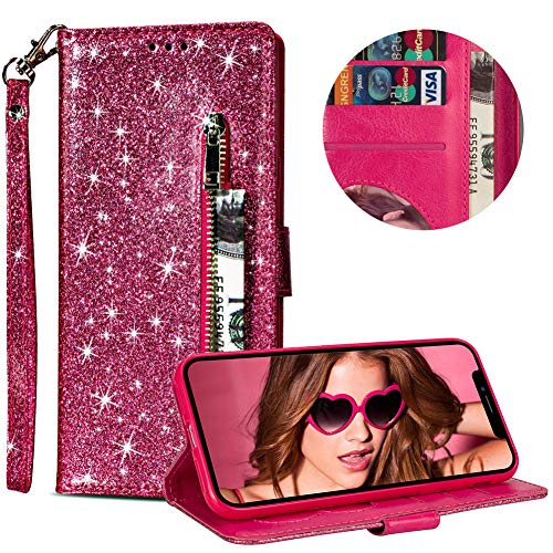 """Price comparison product image Luxury Glitter Bling Zipper Wallet Phone Case for iPhone XS Max, MOIKY Bookstyle PU Leather Flip Folio Magnetic Purse Pockets Credit Card Holder Wrist Strap Cover for iPhone XS Max 6.5"""" - Rose Red"""