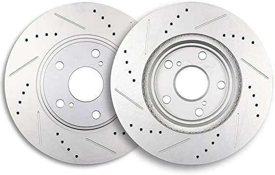 Front Brake Disc Rotors and Ceramic Pads For Toyota Highlander 2001-2007 Drilled