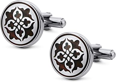 Silver Plain Circular Cufflinks Large Design Cuff Links Perfect Gift Brand New