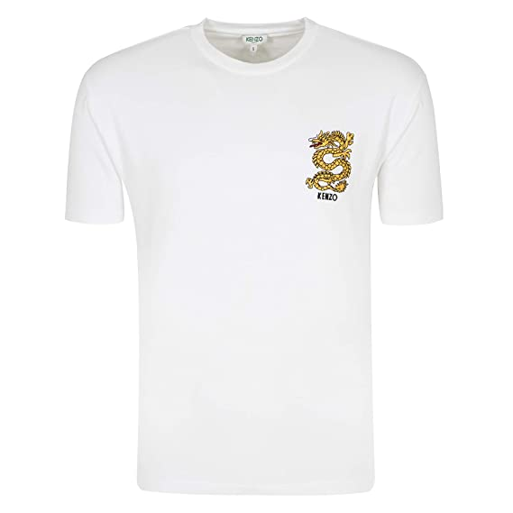 83f054b93 Kenzo Men's Dragon Crest White Cotton T-Shirt (S): Amazon.co.uk: Clothing