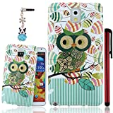 Ancerson Soft TPU Back Case for Samsung Galaxy Note 3 III N9000 N9002 N9005 Fashion Trendy Cartoon Bling Glitter Owl Series Printed Slim Flexible Protective Cover Free with a Red Stylus Touchscreen Pen and a 3.5mm Universal Lovely Silvery Flower Blue Panda Pendant Bling Crystal Diamond Rhinestones Dust Plug(Green Stripe Rose Owl Red Pink Orange Green Black Zebra Stripe Leaf)