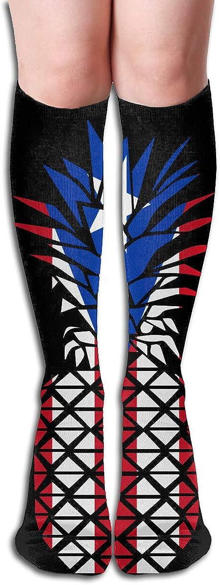 Womens Puerto Rico Flag Pineapple Long Stocking For Athletic,Running,Travel,Nurses,Fitness