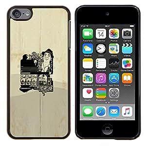 Cartel del vintage- Metal de aluminio y de plástico duro Caja del teléfono - Negro - iPod Touch 6